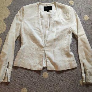 Banana Republic lined white linen jacket